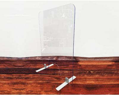 Countertop sneeze screen with metal feet.