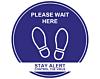 Please Wait Here - Covid19 Coronavirus Floor Wall Stickers